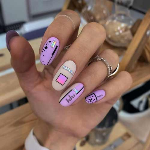 Matte quail nail design