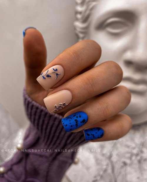 Matte blue manicure quail egg