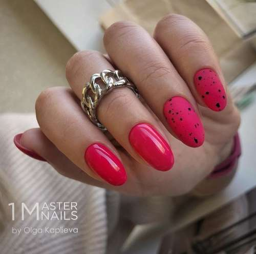 Red manicure with dots