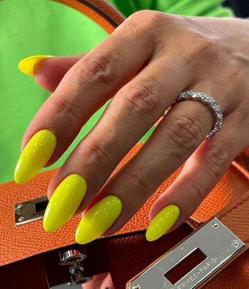 Bright yellow nails
