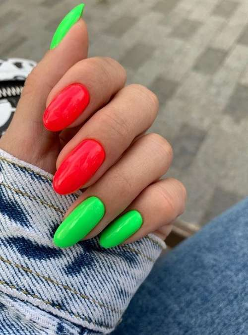 Bright green and red manicure