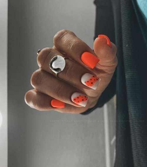 Quail manicure orange