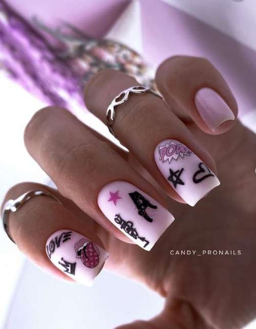 Bright pink manicure