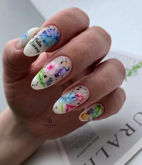 Bright sliders manicure