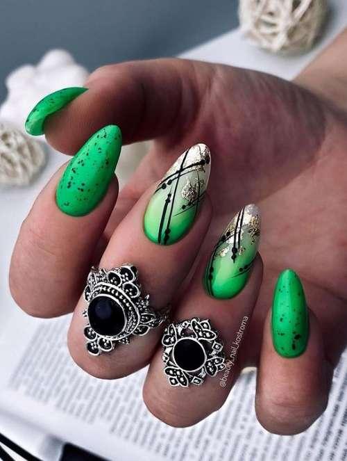 Matte green nails
