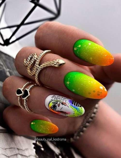 Bright manicure gradient