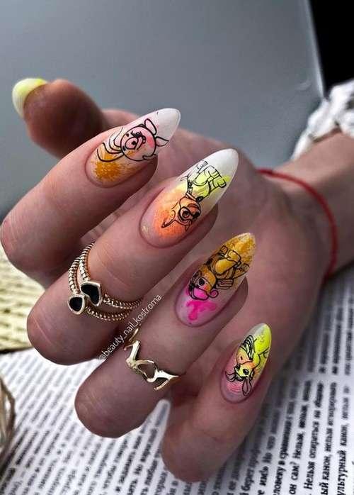 Bright long nails