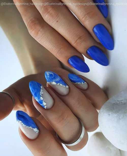 Marine manicure different hands