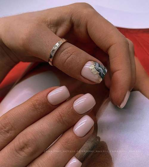 Marine manicure with decor