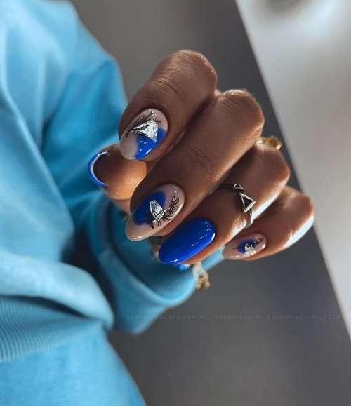 Blue nautical manicure