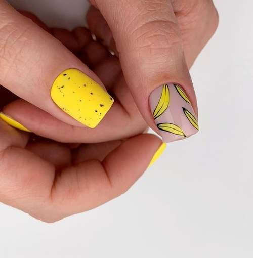 Yellow manicure with banana