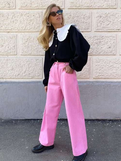 Fashionable pink jeans