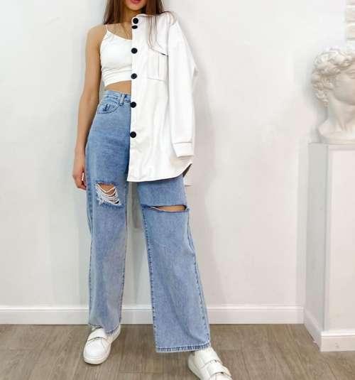 Wide leg jeans fashion