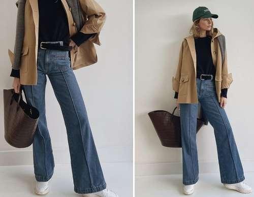 Flared denim fashion