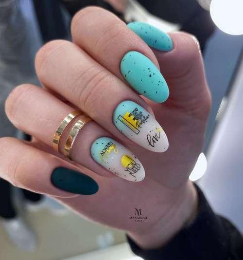 Matte nails color turquoise