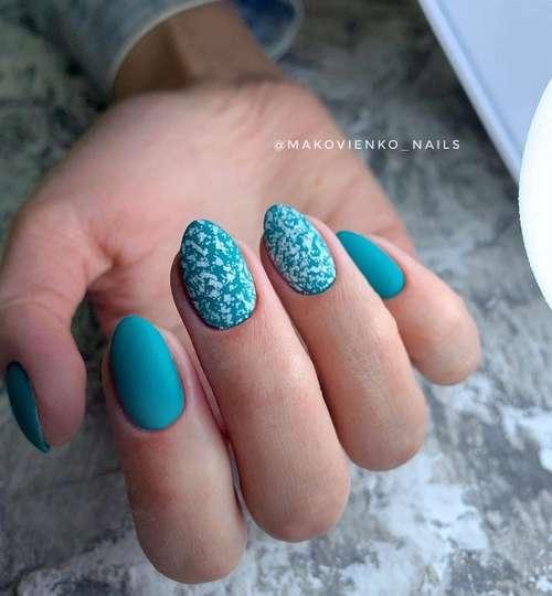 White specks on turquoise nails
