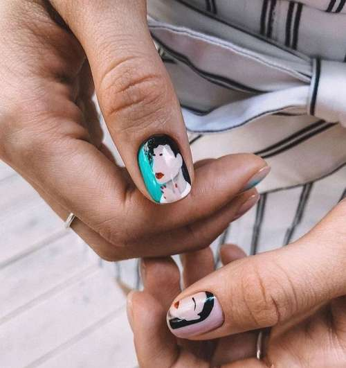 Turquoise design nails