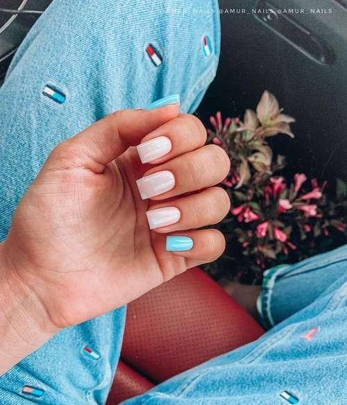 Turquoise varnish on one finger