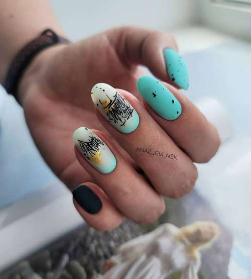 Milky with turquoise gradient nails