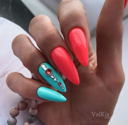 Turquoise long nails with rhinestones