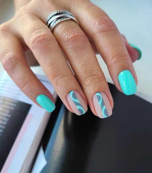 Turquoise glitter nails