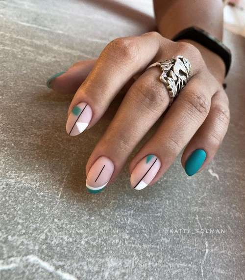 Minimalism manicure in turquoise colors