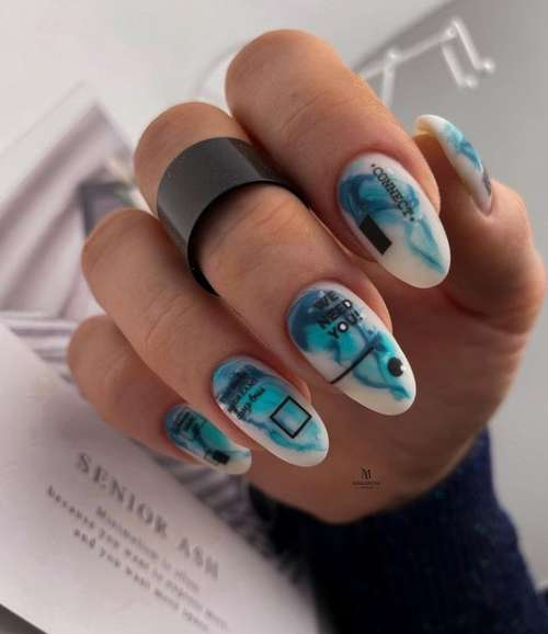 Manicure in turquoise colors