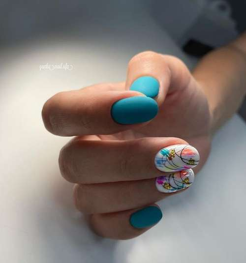Turquoise design with foil nails