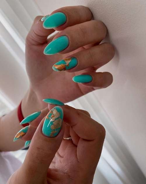Turquoise nails with foil