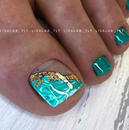 Turquoise pedicure texture and leaf