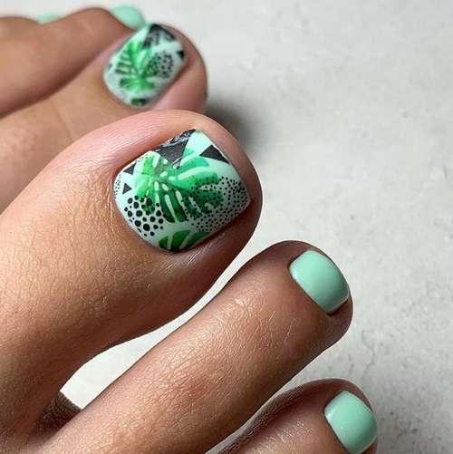 Soft green pedicure