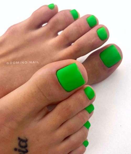 Bright green pedicure