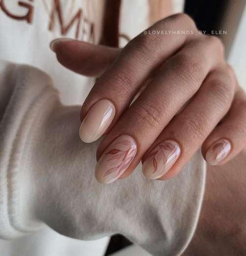 Nude beige manicure