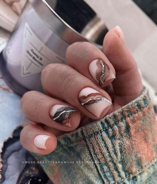 Watercolor beige manicure