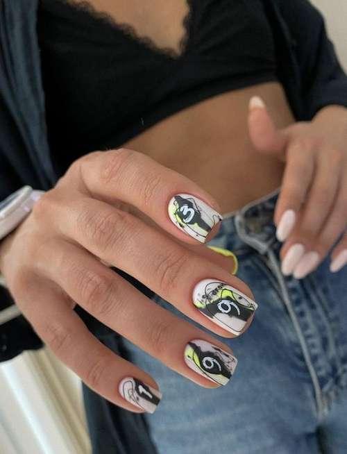 Different design of hands manicure beige
