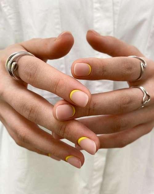 Matte beige manicure