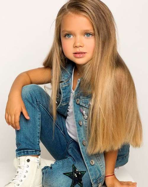 Girl's haircut long hair