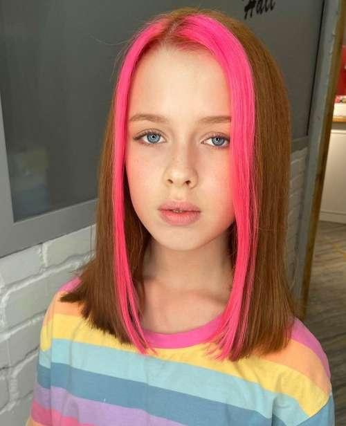 Haircut and bright coloring