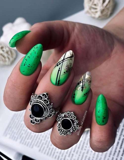 Green nails with gold
