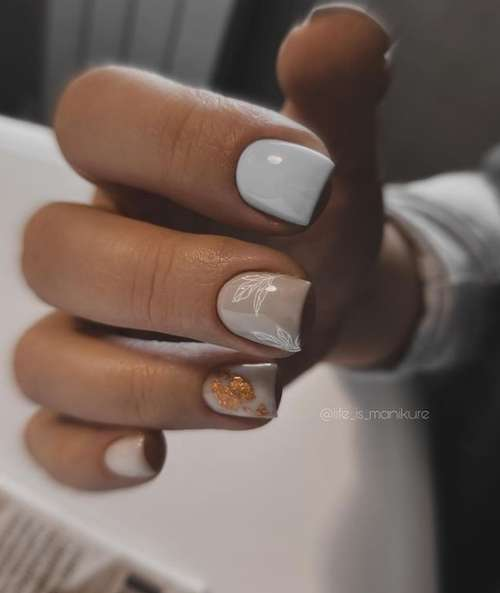 Short manicure with gold